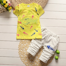 2016 new children clothing boy baby collection for summer clothes cotton T-shirt + short children clothing(China)