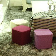 yazi Wooden Square Stool Ottoman Sofa Chair Footstools Portable Furniture Kids Stool With Cloth Cover Soft Foam Seat Cushion(China)