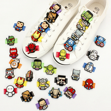 14PCS/set Creative Cartoon Marvel's The Avengers PVC Shoelace Accessories Shoe Decoration Fit For Children Birthday Party Gifts
