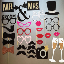 Fun 33pcs Photo Booth Happy Birthday Prop Mr Mrs Glasses Mask Party supplies Kid gift Wedding Decor just married Bridal Shower