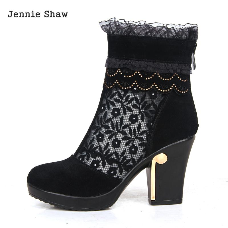 Genuine leather female spring autumn cutout mesh lace ankle boots women short Boot Shoes<br>