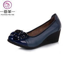 2017 new fashion high heels women pumps,women genuine leather wedge shoes woman single casual shoes women shoes(China)
