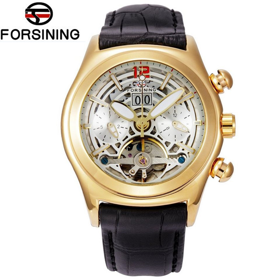 FORSINING Casual Mens Flywheel Men Day /Week Auto Mechancial PU Leather Wristwatch Gift Box Free Ship<br><br>Aliexpress