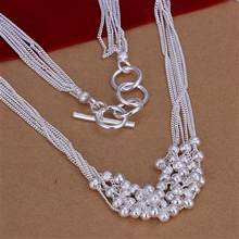 925 Sterling Silver Jewelry Multi Balls Necklace Free Shipping Brand New One Pcs RM204(China)