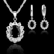 JEXXI Vintage 925 Sterling Silver Jewelry Sets For Women Cubic Zirconia Bridal Wedding Engagement Necklace Earrings Set Bijoux