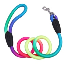 Hot Fashion 1Pcs Rainbow Color Weave Nylon Belt Pet Dog Traction Rope Round Training Leashes