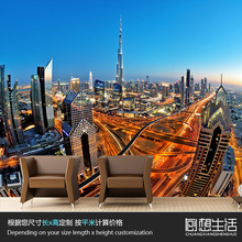 Mural Skyscrapers Dubai city construction night large murals TV setting wall sitting room bedroom personality 3D wallpaper(China)