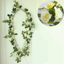 Cheap Sale Artificial Silk Rose Flower Ivy Vine Green Leaf Hanging Garland Home Wedding Party Decor