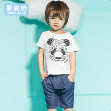2017 Direct Selling O-Neck Unisex Pullover Summer New Baby Boy Girl Clothes Pattern Panda Toddler Clothing Kids Set 2 Pieces