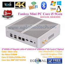 Dual Lan Fanless Mini Desktop PC Intel Broadwell Core i5 5257u Iris 6100 4GB RAM 160GB HDD Smart Mini Computer Blue-ray 4K HTPC
