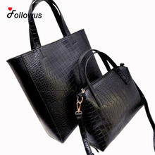 Two pieces/set 2016 Women Handbags Leather New Fashion Ladies Composite Shoulder Bag Satchel Women Black Large Totes Handbag(China)