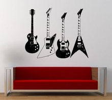 Collected Four Kinds Of Electric Guitars Wall Decals Musical Cool Rock Instrument Wall Stickers Home Art Decoration Q-84