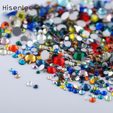 Hisenlee Nail Art Crystal Mix Sizes Mix Colors Non Hotfix Flatback Glass Rhinestones For Nails 3D Nail Art Decoration Gems