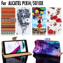 PU Leather Flip Case Cover For Alcatel OneTouch One Touch Pixi 4 Pixi4 5.0 inch OT-5010 5010D 5010X 3G Version Housing Bags