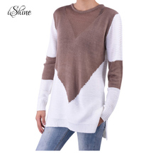 2017 New Women Long-sleeved Oversized Sweater Jumper Hollowed-out Contrast Color Female Loose Casual Pullover Crochet Sweaters