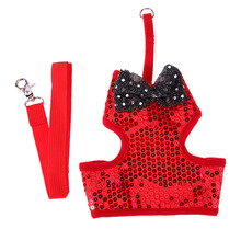 Dog Harness Pet Collars Chest Back Traction Belt for Safety Walking Vest Matching Lead Leash Sequins Bowknot Vest Leashes E#CH(China)
