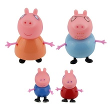 4 Pcs Kids Toys Dolls Peppa Pig Toys Dolls Daddy Mummy Pig George Pepa Pig Family Set with Box  [HY] TY