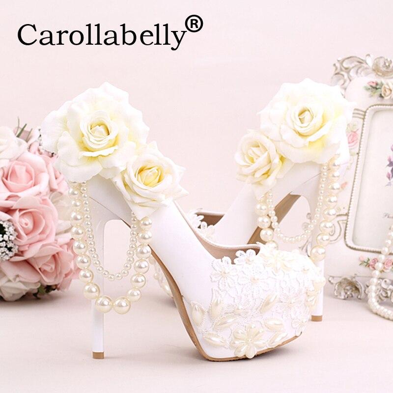 Carollabelly White Thin Heel Waterproof Bridal shoes with Rhinestone Flower Pearl  Women Pumps Platform  Sweet Wedding Shoes<br>