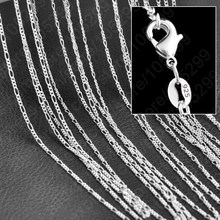 JEXXI Hot Sale Popular 925 Sterling Silver Figaro Necklace Chain With Lobster Clasps Set High Quanlity Cheap Price 10PCS C07