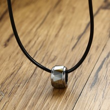 Mprainbow Mens Necklaces Tungsten Carbide Round Circle Pendant for Men Black Rubber Rope Chain Chokers Necklace Fashion Jewelry(China)