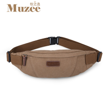 Muzee Men Waist Pack Multi-functional waist bag Fashion leisure canvas bag Inclined shoulder bag