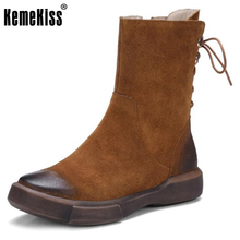 KemeKiss Women Real Leather Boots Round Toe Thick Platform Mid-Calf Boots British Style Back Strap Shoes Women Size 34-39