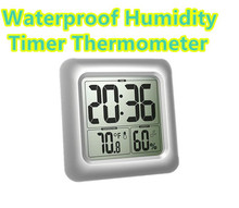 Digital Wall Window Waterproof Thermometer Indoor timer Clock Suction Cup Household Kitchen Bathroom Temperature Humidity 40%off(China)