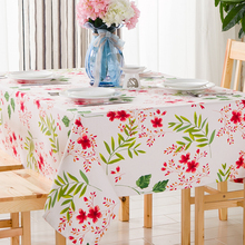 Pastoral Garden table cloth tea table cloth small fresh table canvas table cloth Cherry blossoms green stripes table cloth