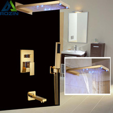 Classic Wall Mount Golden Shower Faucet LED Light Waterfall & Rainfall Showerhead Tub Shower Mixer Taps