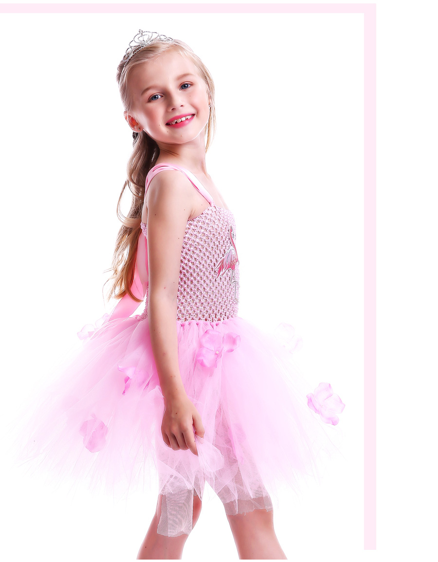 Girls Flamingo Kiss Tutu Dress Cartoon Flamingos Flower Princess Dresses for Photo Birthday Party Dress Up Clothing Summer Dress (1)