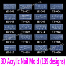 3d Acrylic Nail Template Acrylic Nail Carving Mold Nail Art Template in 139 Designs Pattern Decoration Soft Silicon Gel Tools