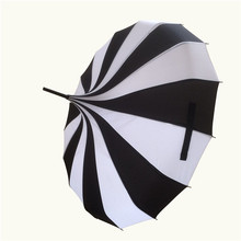 10 pcs/lotCreative Design Black And White Striped Golf Umbrella Long-handled Straight Pagoda Umbrella(China)