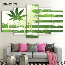 5 piece canvas art HD print weed with american flag green painting wall pictures for living room free shipping UP-2089C