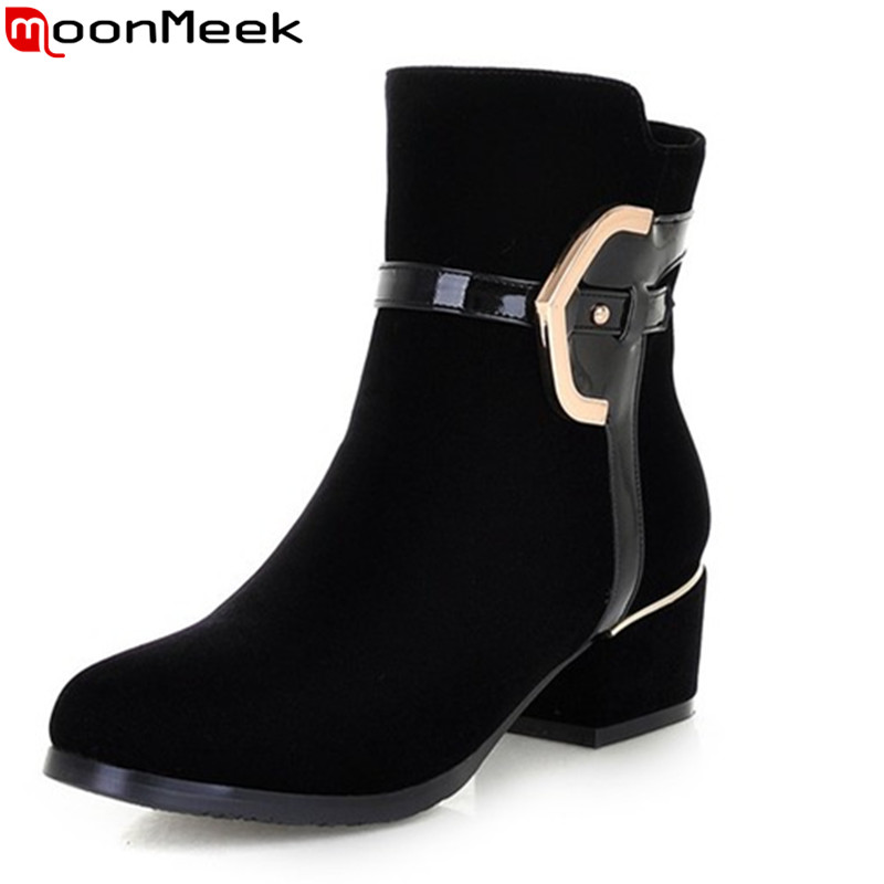 MoonMeek new fashion high heels ankle boots zipper black quality suede square heels autumn women boots winter shoes<br>