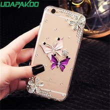 Udapakoo 3D Handmade Diamond Case For iPhone 7 8 Plus 5.5 inch 4 5 6 X Luxury Bling Shiny Rhinestone Crystal Clear PC Back Cover(China)