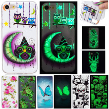 Luxury Cartoon Luminous Night Light Owl Skull Fundas Phone Cases For Iphone 5 5s SE 5C 6 6plus 6s Plus 7 7plus 7 Plus Cover Case