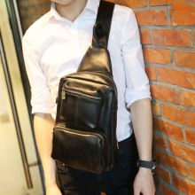 New Men PU Leather High Capacity Travel School Sling Back Pack Shoulder Messenger Chest Bag
