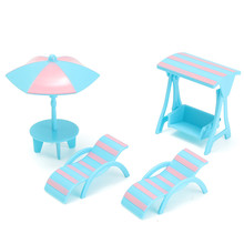 Lovely 4Pcs/set Dolls House Furniture Plastic Beach Scene Set Miniature DIY Accessories For Kids Child Play Furniture Toy(China)