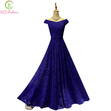 SSYFashion Bride Married Banquet Long Lace Evening Dress Floor-length Elegant Party Prom Dress Custom Plus Size Formal Dresses