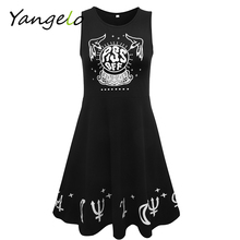 Women Dress Sleeveless Punk Gothic Style Cotton Dress Piss Off Pay For Insult Dress People to Stop Pissing You off(China)