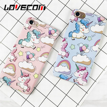 LOVECOM Cute Rainbow Horse Phone Case For iphone 5 5S SE 6 6S 7 7 Plus Matte Hard Plastic Back Cover Capa Coque(China)