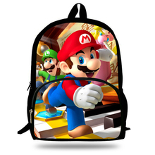 16-inch Mochila School Kids Backpack Super Mario Bag Superman Printing Children School Bags Boys Age 7-13 Teenagers(China)