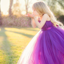 Hot Sale purple baby girl princess tulle TuTu dress summer 2016 Cute toddler girls wedding party dress Bow silk belt ball gowns(China)