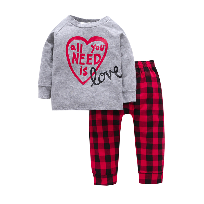 2Pcs 12M~5T Casual Toddler Boys Sets Grey Letter Long Sleeve Cotton T-shirt+Red Plaid Pants Baby Boys Clothes  Sets<br>