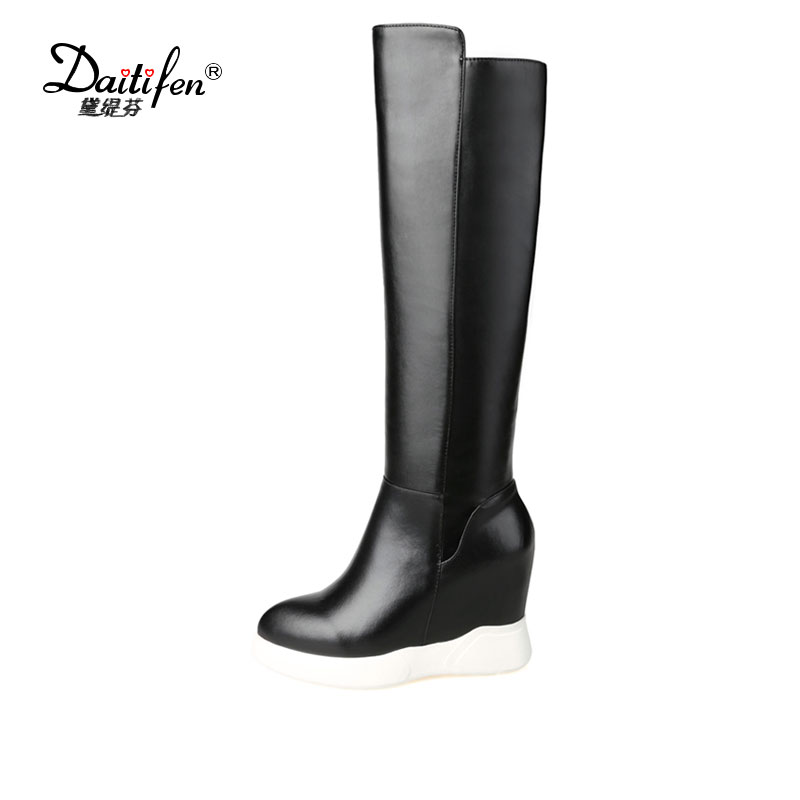 Daitifen Women Boots Platform High Heels Knee High Women Boots Wedge Heels Ladies Winter Shoes Size 34-43Female Autumn Boots<br>