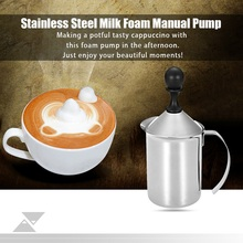 300/600ML Stainless Steel Milk Bubble Pump Frother Creamer Coffee Foam Eco-friendly Manual Cafe Forthing Tool