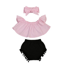 Buy 2017 Newest Toddler Baby Girl Pink Shoulder Ruffle Top Black Shorts Pants Bow Headband 3PCS Outfit Clothes Set for $4.83 in AliExpress store