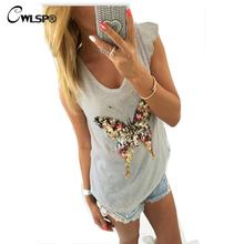 CWLSP Fashion T shirt Women Bling Sequined 3D Butterfly V-Neck Petal Sleeve Camisetas Mujer Casual Tee Shirt Femme QA1314