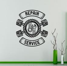 Free Shipping Repair Service Wall Vinyl Decal Auto Machine Sticker Logo Garage Decor Interior Room Removable Mural