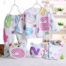 Top Sale 0-3M Baby Clothes Set Newborn Boys Girls Soft Underwear Animal Printed Shirt And Pants Cotton Clothing 5 pcs For Baby